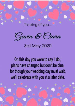 Thinking of you Wedding Postponed Card Hearts Purple